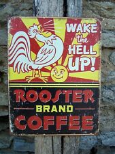 """Antique Style Rooster Coffee Metal Sign Ad Retro Kitchen Cafe Wall Decor USA 16"""""""