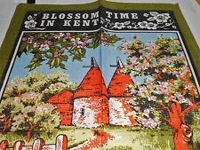 VINTAGE SHABBY CHIC PURE LINEN TEA TOWEL BY DUNMOY 'BLOSSOM TIME IN KENT' NEW