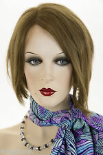 Light Gold Reddish Brown Brunette Medium Human Hair  Straight Wigs