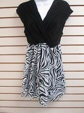Citiknits Cap Sleeve Knit Top with Zebra Print Overlay, MEDIUM - New with Tags