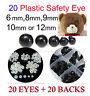 Safety Eyes For Teddy Bear supplies** 6mm, 8mm, 9mm, 10mm, OR 12mm ** 20 BLACK