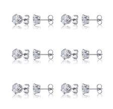 6 Pairs Stainless Steel Cubic Zirconia Round Cut Men Women Stud Earrings Set