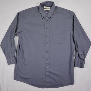 Roundtree Yorke Gold Label mens button down shirt gray 16 1/2 32/33 Non Iron