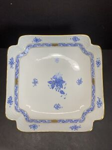 "VTG HEREND PORCELAIN BLUE CHINESE BOUQUET SQARE DINNER PLATE 181 / AB 10"" W"