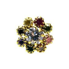 Charming Multicolor CZ Piercing Nose Stud Pin Solid Real 14k Yellow Gold