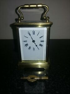 Antique / Vintage Carriage Clock With Key, Good Working Order.