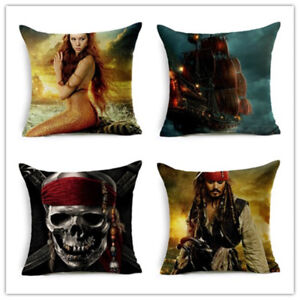 Pirates Of Caribbean Movie Throw Pillow Cover Cotton Decorative Cushion Covers