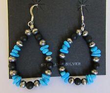 Native American Sterling Navajo Pearls Onyx & Sleeping Beauty Turquoise Earrings