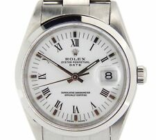 Mens Rolex Date Stainless Steel Watch Domed Bezel White & Black Roman Dial 15200