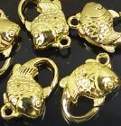20x12mm Gold Pewter Fish Lobster Claw Clasps (5) ~ Lead-Free