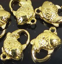 20x12mm Gold Pewter Fish Lobster Claw Clasps (5)