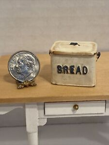 Vintage UK Artist COUNTRY TREASURES Rustic Bread Box Dollhouse Miniature 1:12