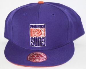 NEW Phoenix Suns MITCHELL & NESS NBA Purple retro Logo Fitted Baseball Hat Cap