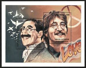 Abkhazie (Russie) Timbres John Lennon The Beatles Feuille Groucho Marx MNH