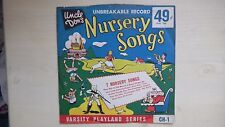 """RARE Varsity Record UNCLE DON'S NURSERY RHYMES SONGS 10"""" 78rpm 50s"""