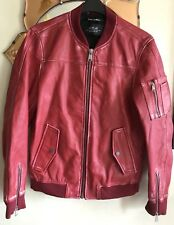 "Replay Blue Issue Red Lamb Leather Zip Jacket 42 "" BNWOT"