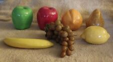 Lot of 7 Fruit Decoration Pear Bananna Orange Grapes Lemon Green Red Apple