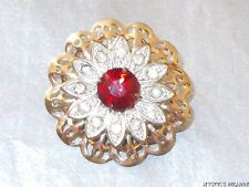 VINTAGE 60'S DUO TONE RED CLEAR CRYSTAL ROUND FLORAL FILIGREE BROOCH
