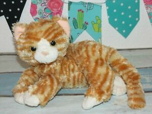 """Ty Classic Cobbler Orange White Kitty Cat Tabby Laying Plush Striped Toy 9"""""""