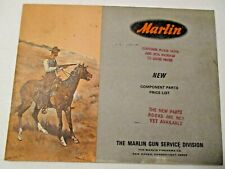 VINTAGE 1966 MARLIN SPORTING FIREARMS NEW COMPONENT PARTS PRICE LIST ~ HUNTING
