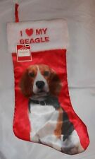 Beagle Christmas Stocking I Heart My Beagle Holiday Time New with Tag