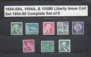 US Scott #1054-1059A, 1054b, & 1059A / Regular Liberty Issue Coils  MNH