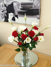 VALENTNES RED ROSES & LISIANTHUS LUXURY ARTIFICIAL FLOWER ARRANGEMENT IN VASE