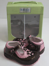 Robeez 1st Stepz Toddler Baby Girls Size 4.5 Scalloped T Strip Espresso Shoes