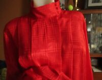 LARGE True Vtg 80s PLEATED CHERRY RED HIGH COLLAR SATIN BOHO MOM Top