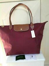 5New Longchamp Le Pliage nylon tote burgundy bag