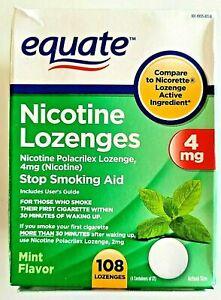 Equate - Nicotine Lozenge 4 mg, Stop Smoking Aid, Mint Flavor, 108 Lozenges