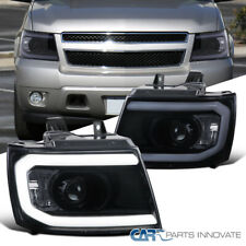 Glossy Black For 07-13 Avalanche Suburban Pickup Tahoe Smoke Projector Headlight