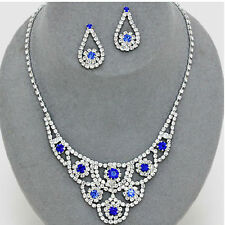 CLEARNCE BLUE CLEAR RHINESTONE CRYSTAL WEDDING FORMAL NECKLACE JEWELRY SET CHIC