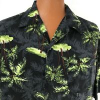 Hawaiian Aloha Floral Black Green Palm Trees  Coconuts XL Shirt Puritan