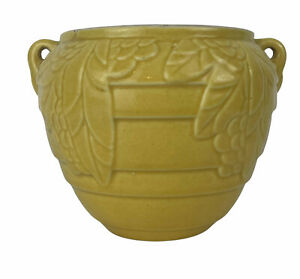 """Vintage 5"""" Gloss Yellow McCoy Pottery Leaf and Berry Vase Handles Flower Pot"""