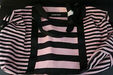 Victoria's Secret Weekender XL Tote Bag Pink Black Striped Zip Top Strap NEW