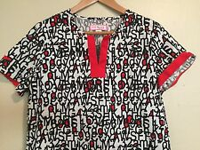 Koi Nurses Scrubs Small S Numbers Letters Top Kathy Peterson Black Red
