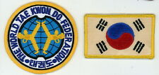 Vintage Pair of World Federation of Tae Kwon Do & Korea Flag Patches - Look