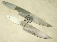 Lot of 2 PCs Professional Damascus Kitchen Chef Knife Hunting Blank Blade 1471