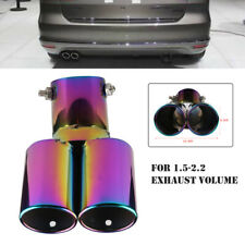 63MM Stainless Steel Car Rear Dual Exhaust Pipe Tip Muffler Cover Tail Throat