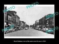 OLD LARGE HISTORIC PHOTO OF BRAZIL INDIANA, THE MAIN STREET & STORES c1950