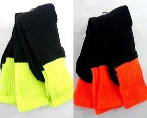 6Pairs Adults Men's Work Socks Traditional HI VIS Work Sock Fluro Lime/Orange