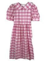 Vtg Storybook Heirlooms Girls Dress Sz 12 Pink gingham checked collar pockets