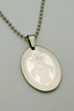 Stainless Steel Miraculous Blessed Mother Oval Dog Tag Pendant