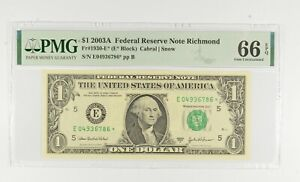 STAR NOTE - PMG Graded 66 EPQ $1 2003-A FR1930-E* FRN - Error Replacement *752
