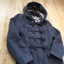 Femme Burberry Brit Style Duffle-coat gris mélange manteau Laine doublure à carreaux taille 12 UK