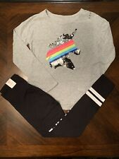 NWT Justice Flip Sequin Long Sleeve Unicorn Tee & Leggings Outfit! 10 Or 12!🦄