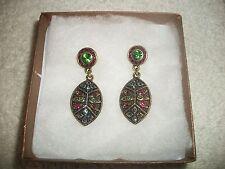 HEIDI DAUS Dangle Earrings Red Green Blue  Swarovski Crystals Bronzetone NEW