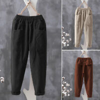 Mode Femme Pantalon Couleur Unie Loose Harlan Poches Jambes larges Ample Plus