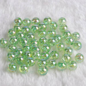 Wholesale 6/8/10mm Shiny AB Round Loose Acrylic Beads Charms DIY Jewelry Making#